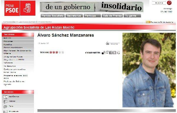 El recientemente nombrado por el Gobierno del PP, en una página del PSOE como concejal por Las Rozas (Madrid).