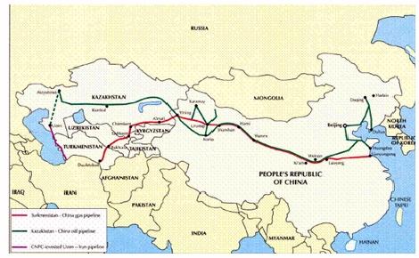 Oleoducto Kazajstán-China (en rojo) y gasoducto Turkmenistán-China (en verde).