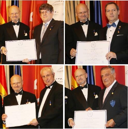 El Exmo. Sr. D. Francisco López de Becerra y Solé, Duque de Maqueda y Presidente de Honor de la Asociación, imponiendo diversas medallas.