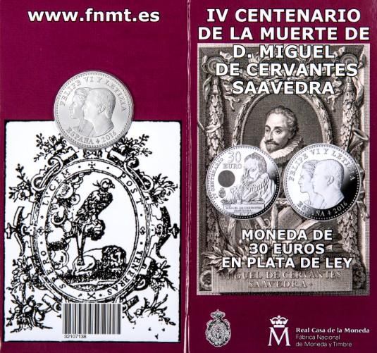 La Real Casa de la Moneda-FNMT pone a la venta la nueva moneda de 30 euros conmemorativa de Cervantes