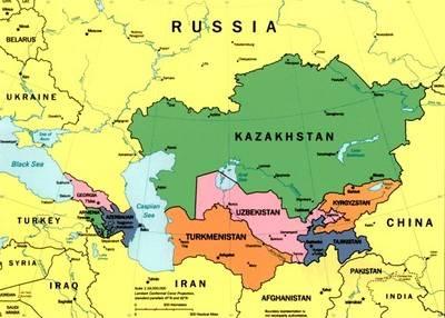 Mapa de los pa�ses del C�ucaso y Asia Central, donde se encuadra Kazajst�n.