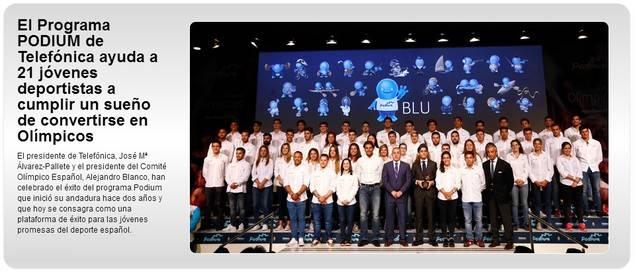 El programa Podium de Telefónica ayuda a 21 jóvenes para ser atletas olímpicos