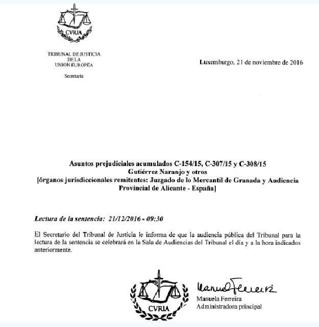 Copia del documento de la Curia europea al que ha tenido acceso ElMundoFinanciero.com