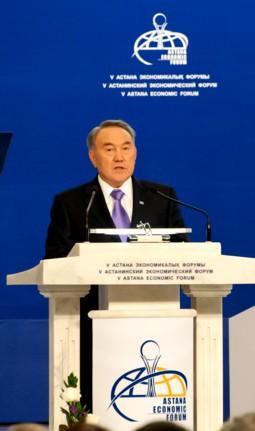 El Presidente de Kazajstán, Nursultán Nazarbáyev, durante una de sus intervenciones en el Foro Económico de Astana 2016.