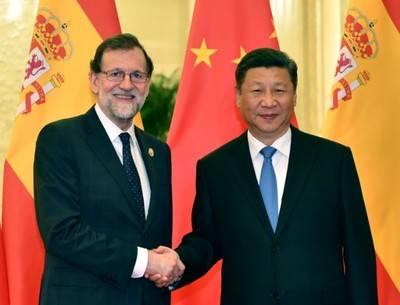 El presidente de China, Xi Jinping, se reúne con el presidente del Gobierno español, Mariano Rajoy, en Beijing, capital de China, el 13 de mayo de 2017. (Foto: Xinhua/Li Tao)