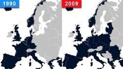 El mapa muestra la expansión territorial de la OTAN entre 1990 y 2009.