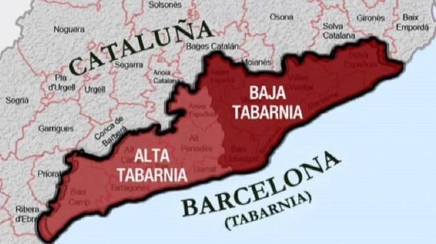 Mapa propuesto para la alta y baja Tabarnia.