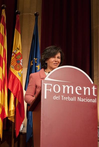 La presidenta del Banco de Santander durante un momento de su importante discurso.