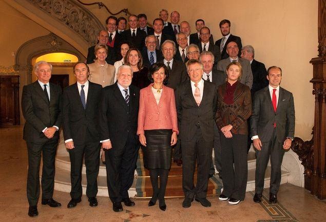 Ana Botín con empresarios catalanes.