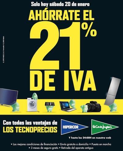 El Corte Inglés e Hipercor ofrecen ahorrar el 21% de IVA en electrónica y electrodomésticos