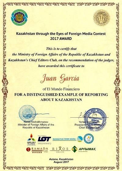 El Mundo Financiero, premio periodístico de Kazajstán
