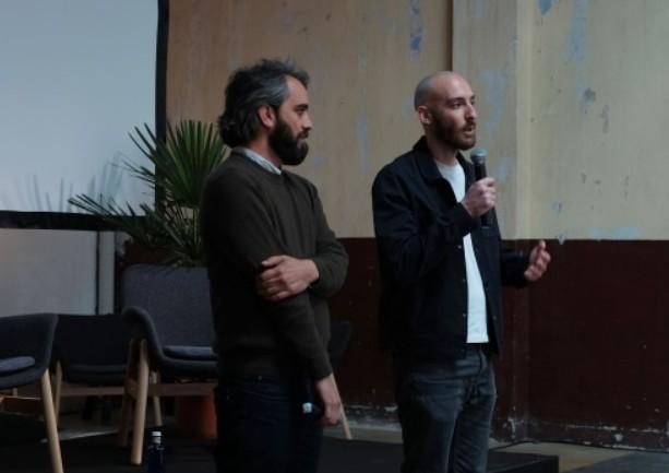 Lamine Sarr y Cristian Palazzi en la rueda de prensa