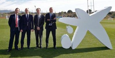Gonzalo Gortázar, Luis Rubiales, Jordi Gual y Andreu Subies en el acto de presentación del patrocinio de CaixaBank con la RFEF.