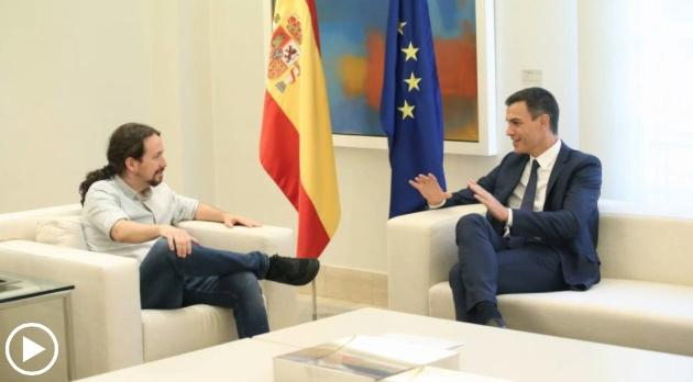 Pablo Iglesias y Pedro Sánchez durante su último encuentro en el Palacio de la Moncloa.