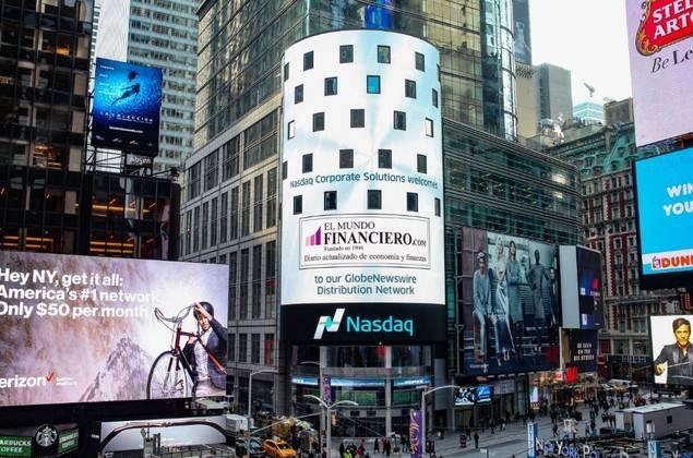 El Mundo Financiero, en la Torre de Nasdaq en Times Square