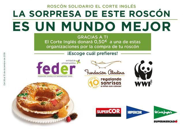 El Corte Inglés entrega 16.123€ a Aladina, Feder y WWF gracias al Roscón de Reyes Solidario