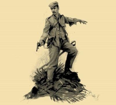 Boceto del genial pintor Ferrer Dalmau para la estatua del Teniente Martín Cerezo que está esculpiendo el artista Salvador Amaya.