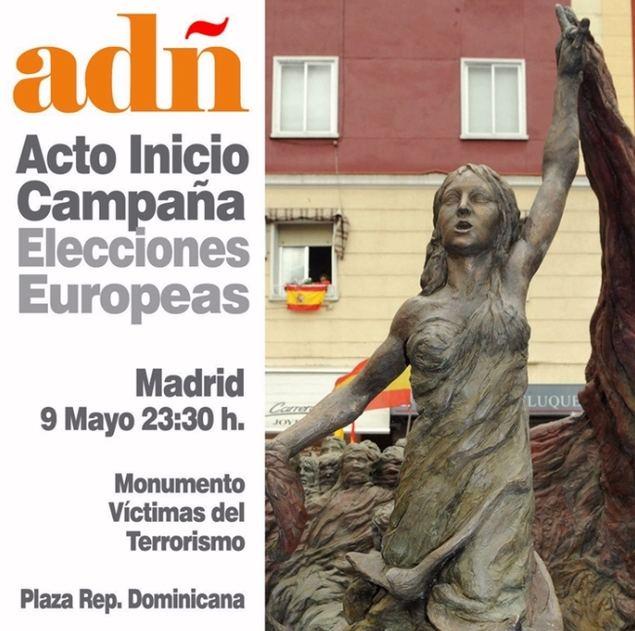 La coalición euroescéptica ADÑ arranca su campaña en el monumento a las víctimas del Terrorismo