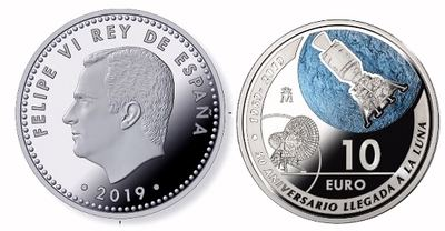 La Real Casa de la Moneda (FNMT) lanza una serie de monedas conmemorativas del 50 Aniversario de la Llegada a la Luna