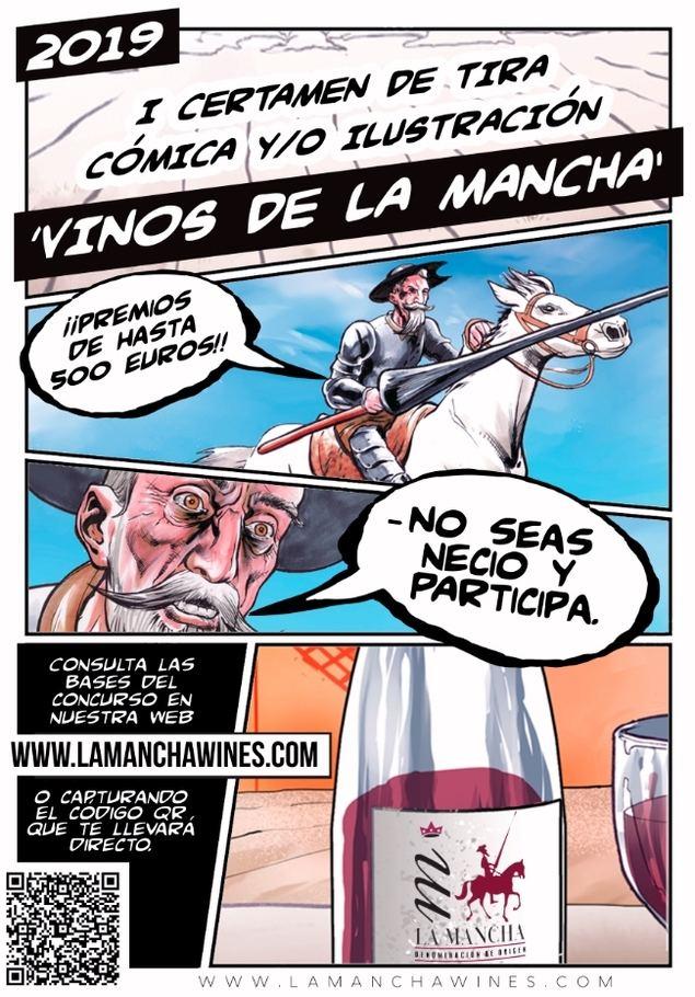 Humor gráfico en la promoción de los vinos DO La Mancha