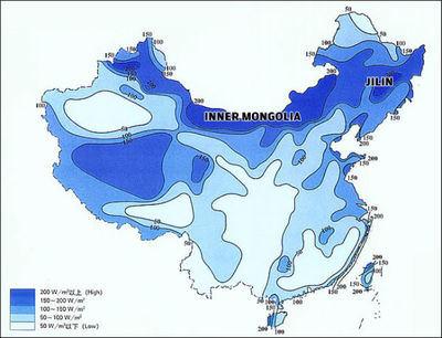 Mapa de vientos en China: en éste país la eólica ya produce más electricidad que la energía nuclear.