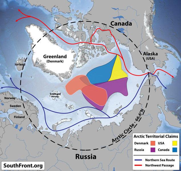 Las permanentes reclamaciones sobre el Polo Norte colocan las reivindicaciones daneses en un primer espacio competidor con Rusia, donde Estados Unidos podría avanzar notablemente en su escasa influencia que actualmente tiene en comparación con Dinamarca o Canadá.