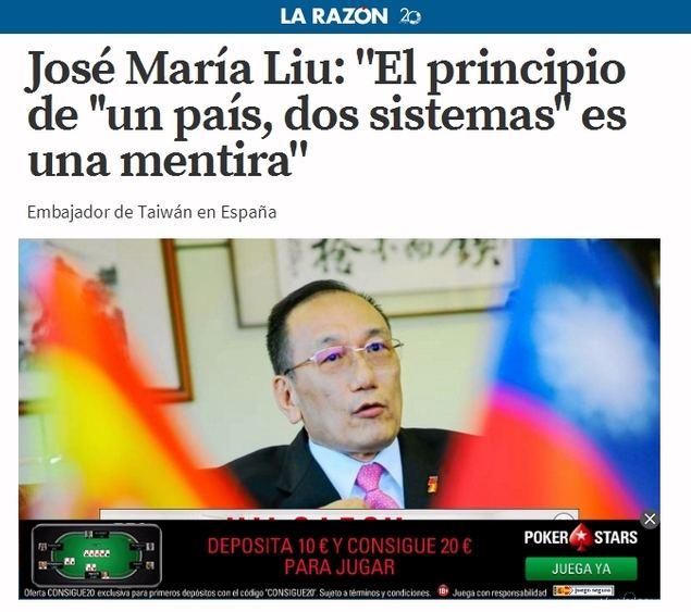 José María Liu: 'El principio de ''un país, dos sistemas'' es una mentira'