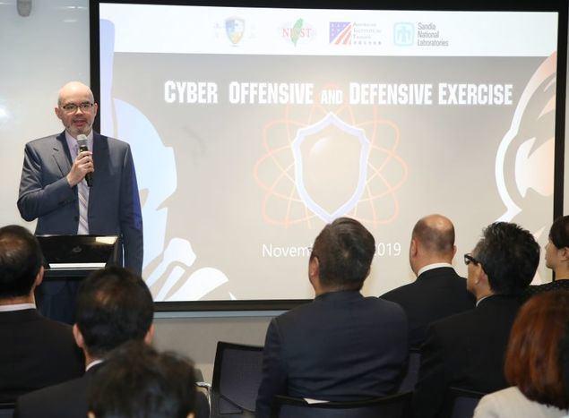 El director interino del AIT, Raymond Greene, ofreció un discurso durante la inauguración de los CODE en Taipei. (Foto de CNA)