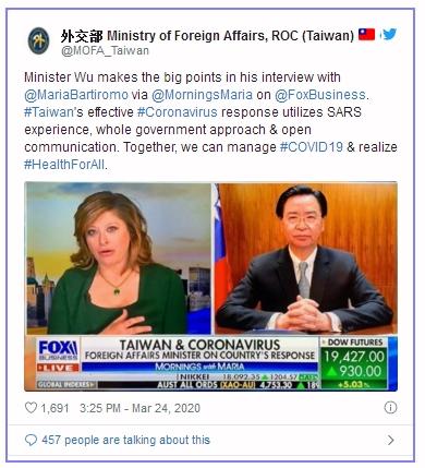 El 24 de marzo, el ministro de Relaciones Exteriores, Jaushieh Joseph Wu, fue entrevistado por Fox Business. (Perfil en Twitter del MOFA).