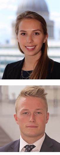 Arriba, Isabella Hervey-BathurstSiete, debajo Alexander Monk, analistas de Renovables y Cambio Climático de Schroders.