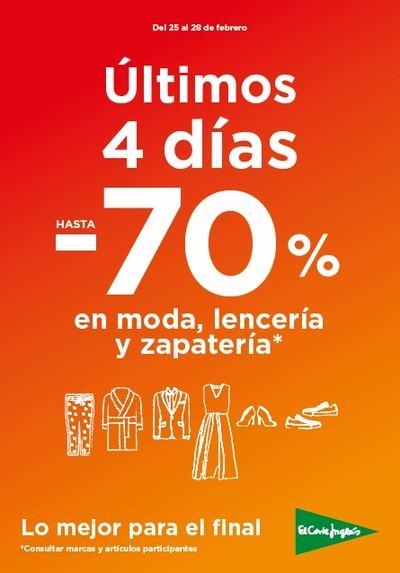 """El Corte Inglés deja """"Lo mejor para el final"""" con rebajas del 70% en moda, lencería y zapatería"""