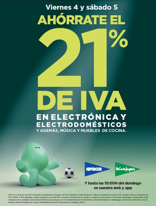 El Corte Inglés ofrece al cliente ahorrar el 21% de IVA en miles de productos durante los próximos dos días
