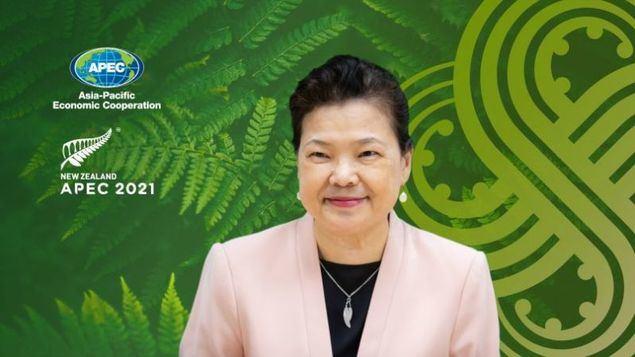 La ministra de Economía, Wang Mei-hua, durante su intervención en el Foro de Mujeres y Economía del APEC. (Foto cortesía del Yuan Ejecutivo)