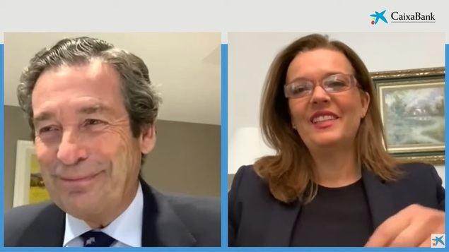 Luis Cabanas, director ejecutivo de Banca de Empresas de CaixaBank, y Ana Díez, directora de Banca Negocios de CaixaBank.